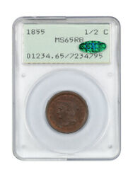 1855 1/2c Pcgs/cac Ms65 Rb Ogh Rattler Holder First Generation Pcgs Holder