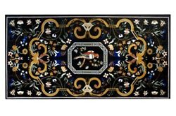 60 X 36 Black Marble Dining Pietra Dura Inlay Work Table Top