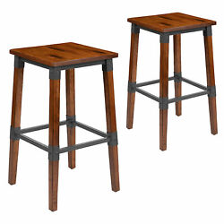 Living Room 2 Pack Rustic Antique Walnut Industrial Dining Backless Barstool