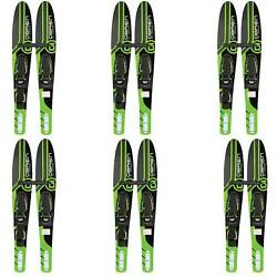 Obrien 54 Adjustable Combo Water Skis Kids Size 2-mens Size 7 Green 6 Pack