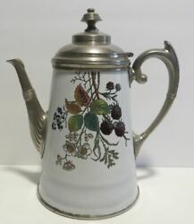 Antique Manning And Bowman Blackberry Enamel And Pewter Graniteware Coffee Pot