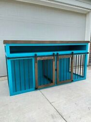 Double Dog Crate Furniture   Dog Kennel Furniture   Wooden Double Dog Crate