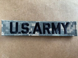 Genuine Issued Acu Us Army Distinguishing Name Tape Patch Velcro® Brand