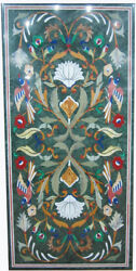 60 X 36 Green Marble Patio / Dining Table Top Inlay Art Home Decor