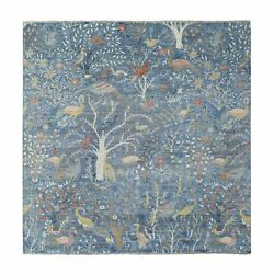 9and039x9and039 Fine Peshawar Soft Wool Hand Knotted Denim Blue Square Rug R68712