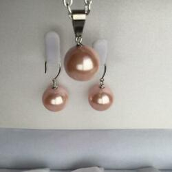 High Quality Pearl Oyster Earrings Pendant Top Necklace Set 14-15mm Good Deal