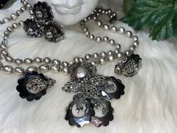 Miriam Haskell Huge Hollywood Necklace Brooch Earring Set Massive B 7