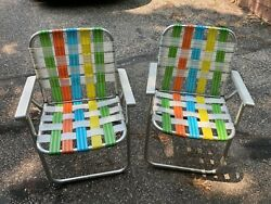 Vintage Aluminum Webbed Folding Lawn Chairs Camping Set 2 Metal Arm Round Tube