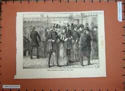 Old Antique Print 1872 Arrival Members Parliament St Paul's Wharf People 19th