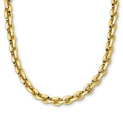 8mm 14k Yellow Gold Hollow Knife Edge Rolo Chain Necklace 17.25 Inch