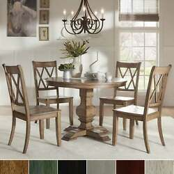 Eleanor Oak Round Solid Wood Top And X Back Chairs 5-piece