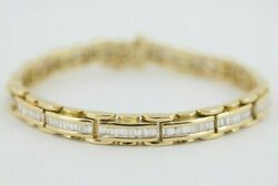 Vintage 1.5 Tcw Link Bracelet 18k Yellow Gold 7 With Box Closure