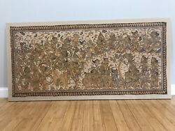 Very Very Large Vintage Balinese Oil On Linen/cloth Painting With Demon Warriors