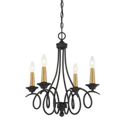 La Courbe - Chandelier 4 Light Sun Faded Wood/brushed Nickel In Traditional