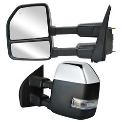 Towing Mirrors For 2017-2020 Ford F250 Super Duty Power Heated Signal Chrome Cap