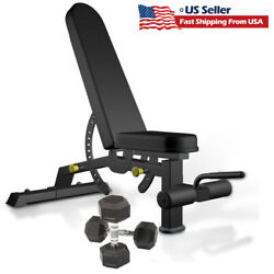 Weight Bench And Rubber Coated Hex Dumbbells Adjustable Incline Decline Home Gym