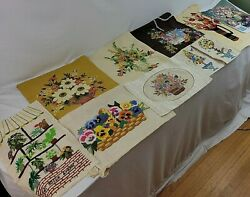 Floral Crewel Finished Bouquet Pansy Topiary Bittersweet Linen 3d Mcm Vtg U Pick