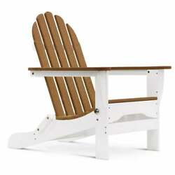 Durogreen Classic Folding Plastic Adirondack Chair In White And Antique