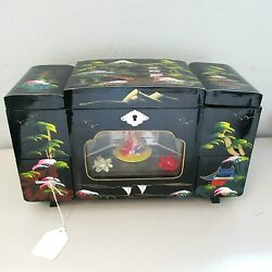 Vintage Black Lacquer Painted Japanese Jewelry Box With Animated Music Box