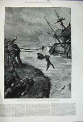 Old Antique Print 1880 Storm Ship Wreck Barque Balitham Plymouth Fine Art 19th