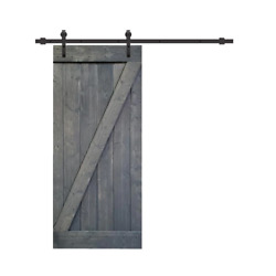 Barn Door 38 In. X 84 In. Easy Install Reversible Solid Core Stained Gray