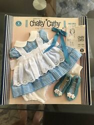 Chatty Cathy Doll Blue Gingham Party Dress Outfit Sewn To Original Card 1960's