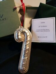 2009 Wallace Sterling Silver Christmas Ornament Candy Cane 2nd Edition