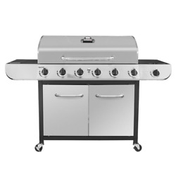 Propane Gas Grill 6-burner Heat Thermometer Freestanding Stainless Steel