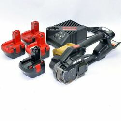 Signode Bxt Poly Strapping Banding Tool Battery Powered W/ Charger + 4 Batteries