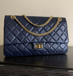 Quilted Navy Leather Chanel Bag Gold Chain Brand New $4000.00