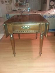 Ethan Allen Classic Manor Birch Drop Leaf End Table 15-8434 204 With Drawer