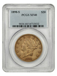 1898-s 20 Pcgs Xf40 - Liberty Double Eagle - Gold Coin