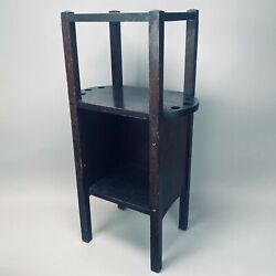 Antique Arts And Crafts Mahogany Cigar Pipe Smoking Stand Vintage Ht Cushman Table