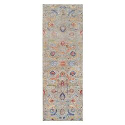 4'1x12'2 Taupe Sickle Design Silk And Wool Hand Knotted Wide Runner Rug R63215