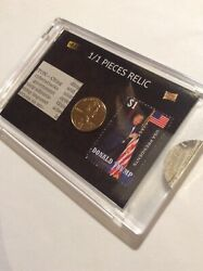 1/1 Donald Trump Cyberattack Relic 2009d Gold Penny Rare 1 Usa President Stamp