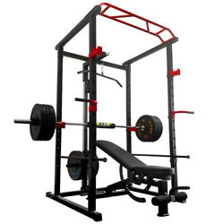 Power Cage Squat Rack And Weight Bench Standing Weight Training Home Gym Workout