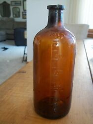 Antique Amber Stopper Apothecary 500 Mils 7.25 Inch Bottle Owens Illinois Glass