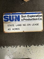 Vintage Porcelain Sun Oil Company Sunoco Oil Well Lease Sign Gas 12andrdquox24andrdquo Mancave