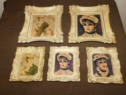 Vintage Parlor 5 Framed Victorian Ladies Wall Pictures Prints