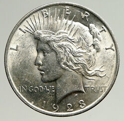 1923p Us Antique Silver Peace Dollar United States Coin W Liberty And Eagle I93645