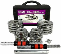 66lbs Adjustable Cast Iron Dumbbell Sets With Portable Packing Box 2in1 Dumbbell