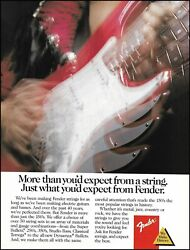 Fender Red Stratocaster Electric Guitar Strings Ad 1989 Advertisement Print