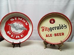 Vintage Simon Pure Buffalo Ny Brewery And Fitzgeralds Ale Troy Ny 2 Beer Trays