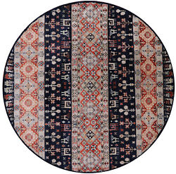 7' Round Hand Knotted Tribal Gabbeh Wool Rug - Q10419