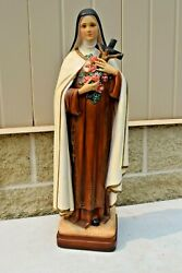 + Nice Older Plaster Statue Of St. Therese Theresa Lisieux 25 1/4 Ht Cu758