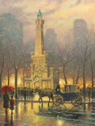 Thomas Kinkade Chicago Winter At The Water Tower P/p On Paper 25.5x34