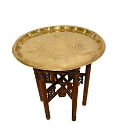 Brass Tray Table, Vintage Moroccan Tea Table, Folding Legs, Coffee Table Tray,