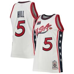 Usa Basketball Grant Hill Mitchell And Ness White 1996 Dream Team Authentic Jersey