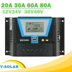 Pwm Solar Panel Regulator 20-80a System Lcd Charger Light Control Dual 5a Usb