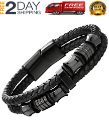 Mens Double-row Black Braided Leather Bracelet Bangle Stainless Steel Ornaments